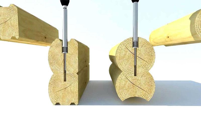 Соединение бруса на пружинные зажимы