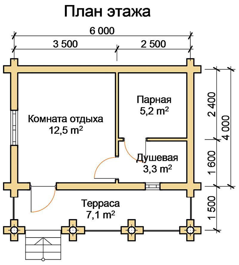 Типовой проект газобетонной бани 6х4 метра