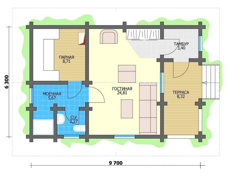 Проект просторной бани с террасой