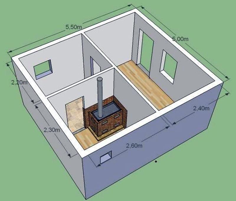 3-D проект маленькой бани из пеноблоков