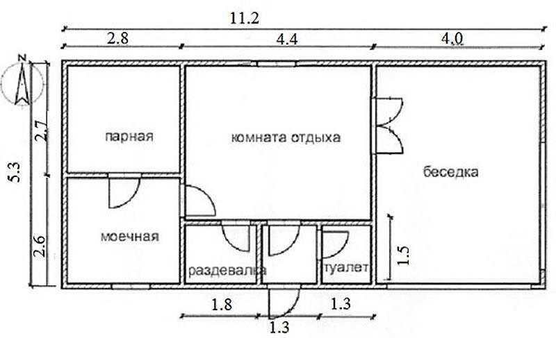 Планировка бани из с верандой, построенной из газобетона