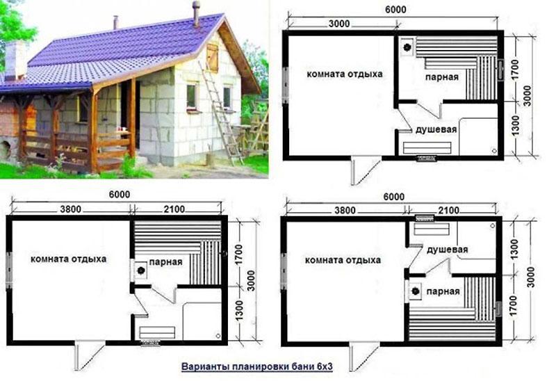 Несколько решений планировки бани 6 х 3 метра из газобетонных блоков