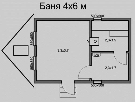 Типовой проект бани с параметрами 6х4