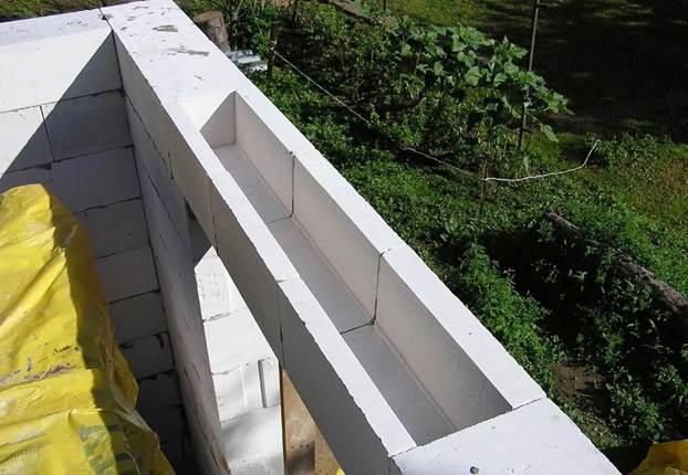 Образец сделанных перемычек в постройке из газобетона