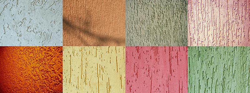 Цветовые и текстурные разновидности облицованных короедом поверхностей