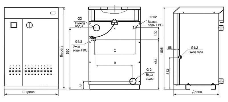 Одноконтурный агрегат АОГВ – устройство и размеры