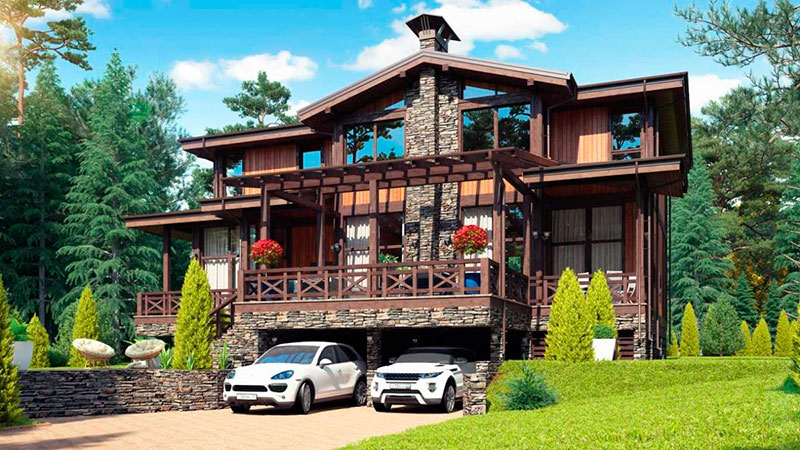 Визуализация проекта двухэтажного дома из вертикального бруса
