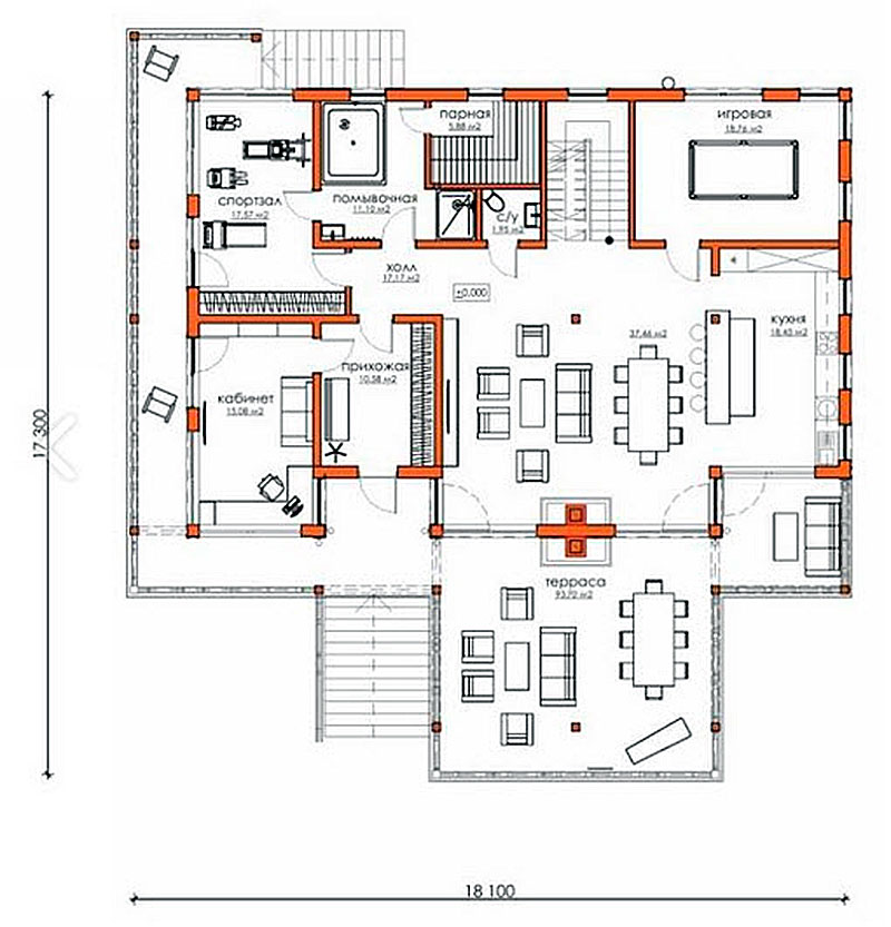 План первого этажа дома, выстроенного из вертикального бруса
