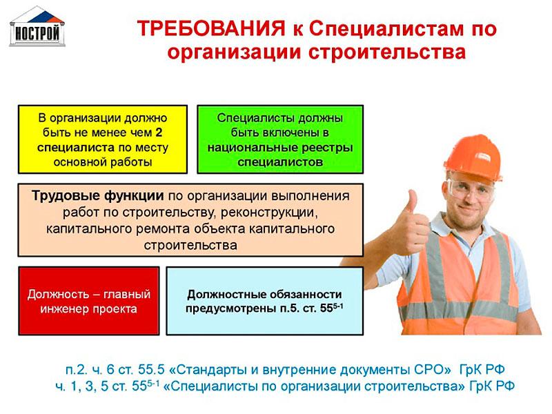 Требования к специалистам по СРО