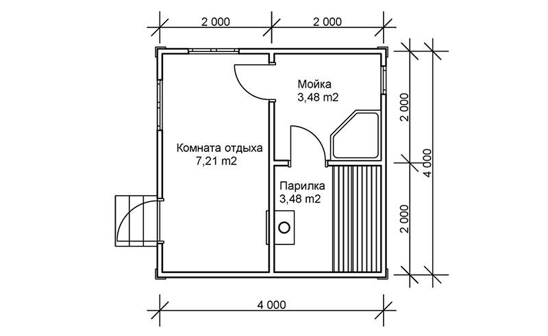 Проект планировки типовой бани 4 х 4 метра из ячеистых газоблоков