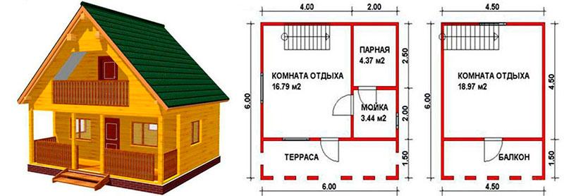 Планировка бани 6 х 6 метров