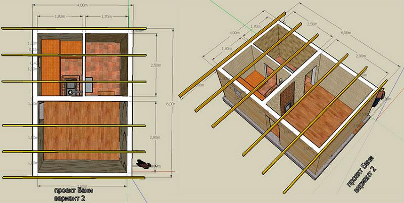 Визуализация типового проекта кирпичной бани