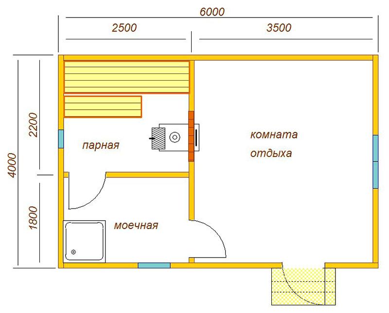 Типовой проект бани из газосиликата 6 х 4 метра