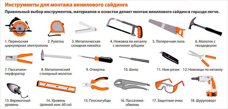 Инструменты для монтажа винилового сайдинга