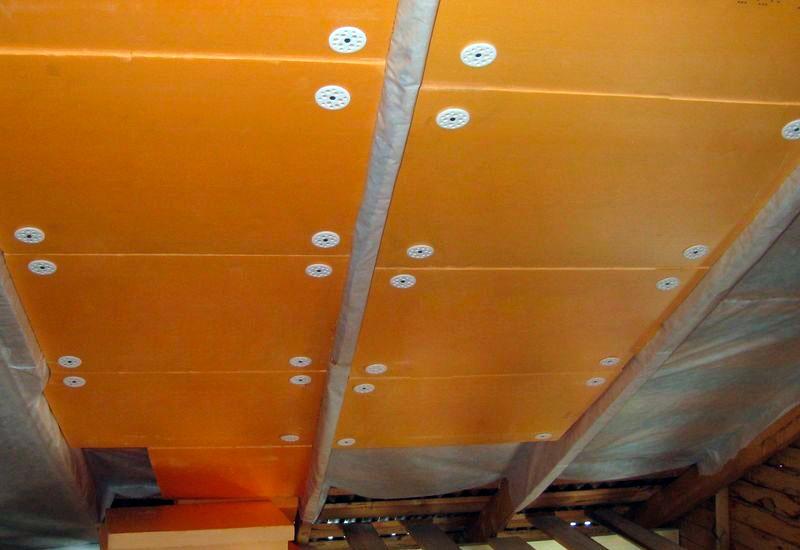 Крепление пенопласта на потолок дюбелями
