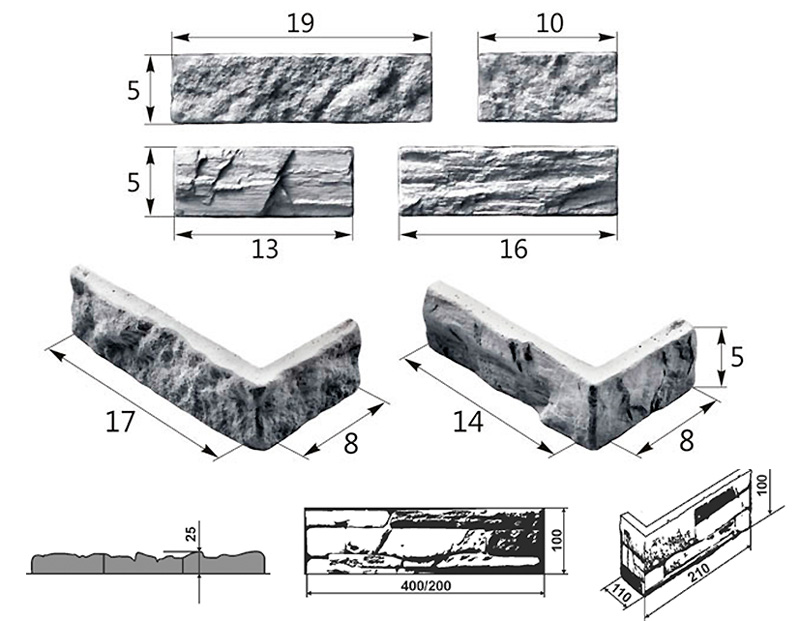 Стандартный размер декоративного кирпича