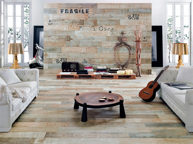 Отделка интерьера керамической состаренной плиткой