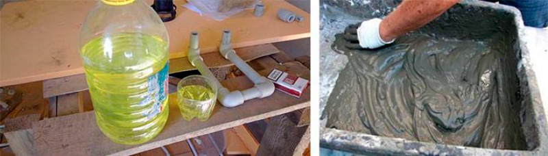 Жидкое мыло в цементном растворе