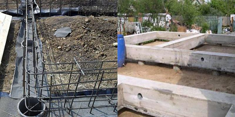 Конструкция фундамента из столбов, укрепленная бетонной лентой-ростверком