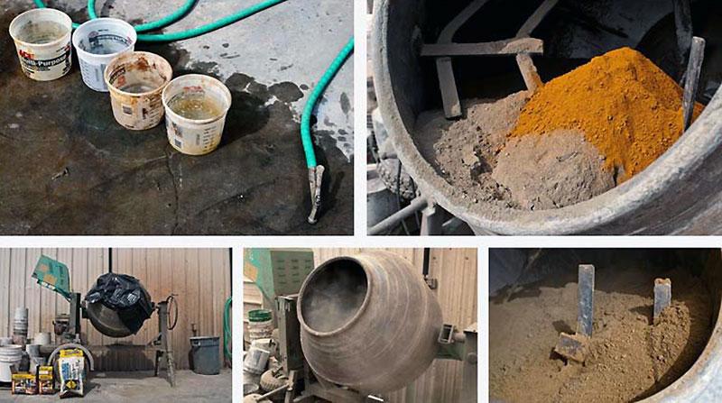 Перемешивание сухих компонентов бетономешалкой