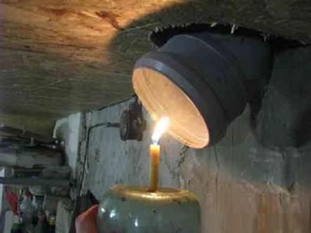 Просушивание погреба с помощью свечи
