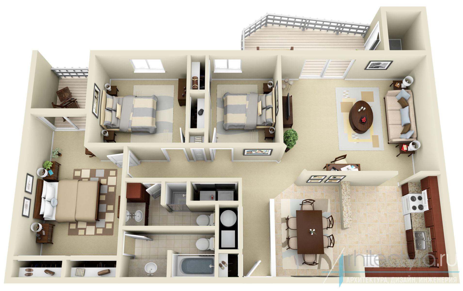 3-комнатная квартира с изолированными спальнями
