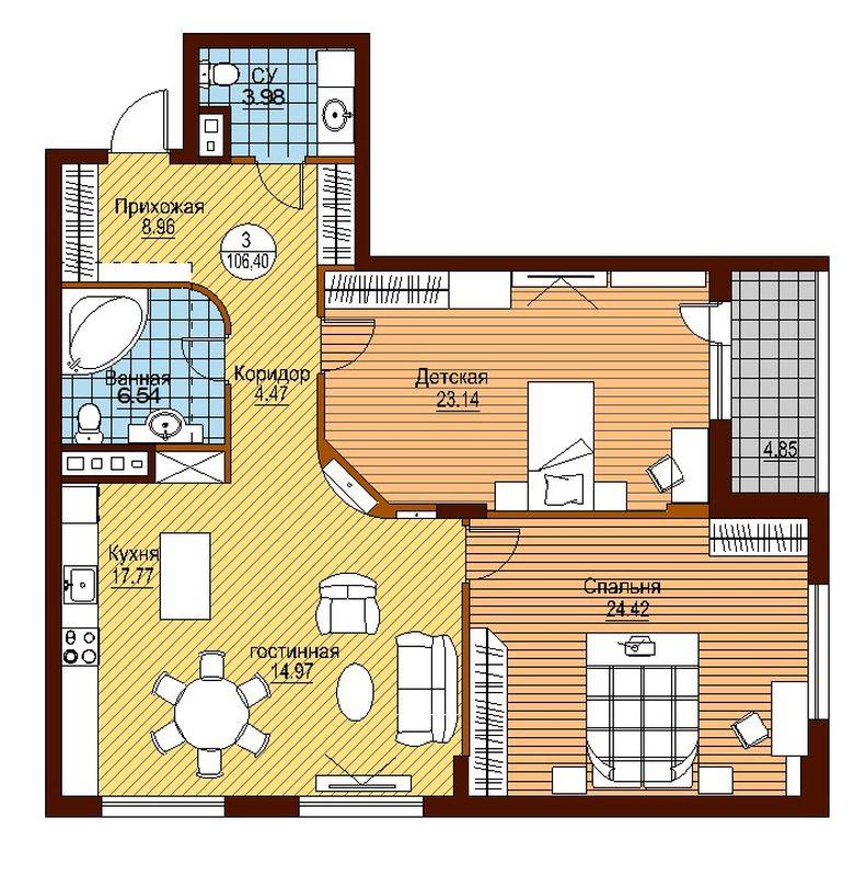 Вариант планировки трехкомнатной «хрущевки», в которой одна из комнат — детская