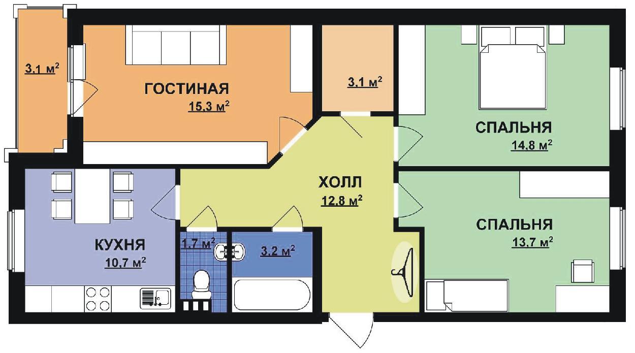 Вариант планировки 3-комнатной квартиры