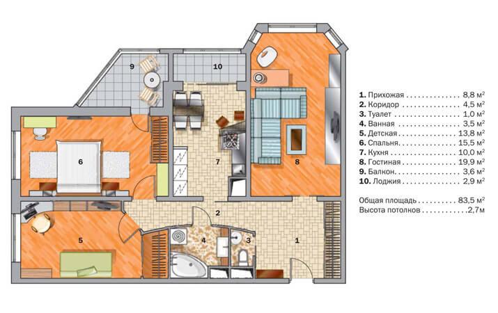 Вариант планировки трехкомнатной квартиры в новостройке