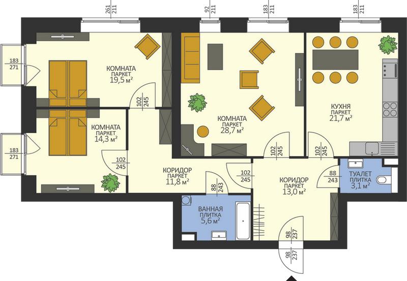 Разновидность планировки трехкомнатной квартиры в современной новостройке