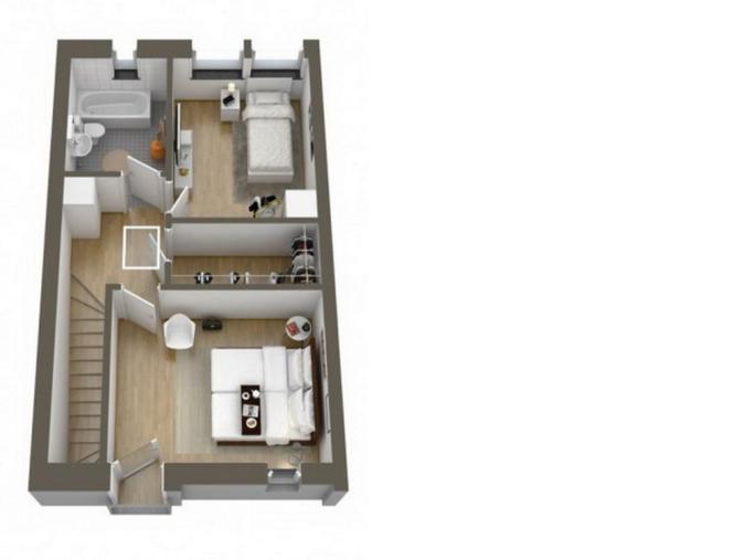 Второй этаж двухуровневой 3-комнатной квартиры