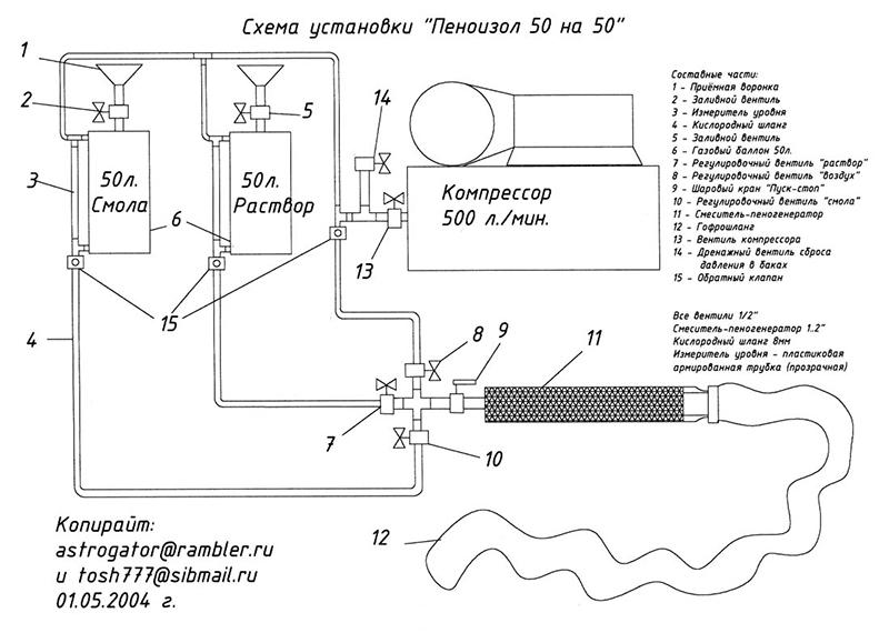 Схема самодельной установки для производства пеноизола