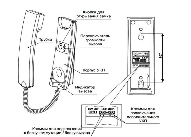 Подключение домофона по общей схеме