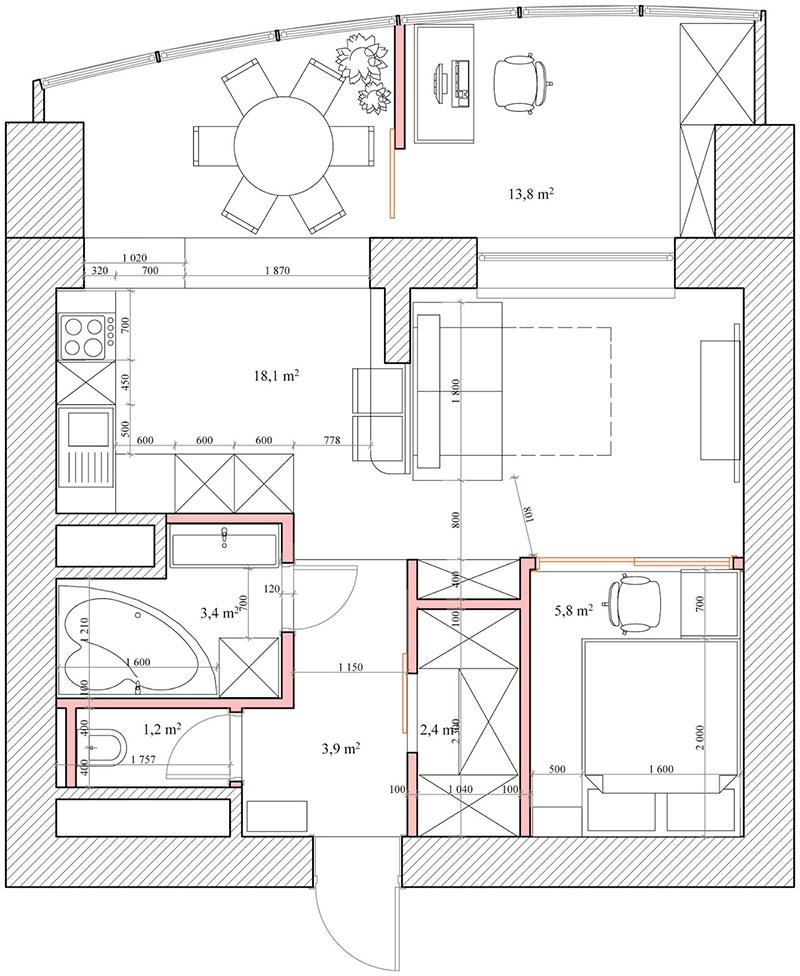 Пример перепланировки угловой квартиры с одной комнатой площадью 50 м2