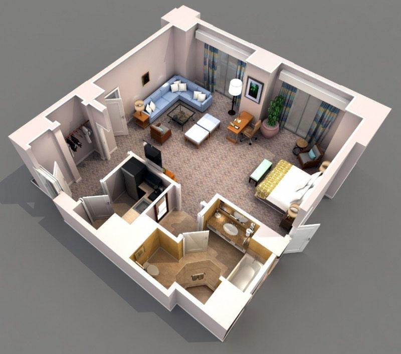 3-D визуализация однокомнатной прямоугольной квартиры-студии