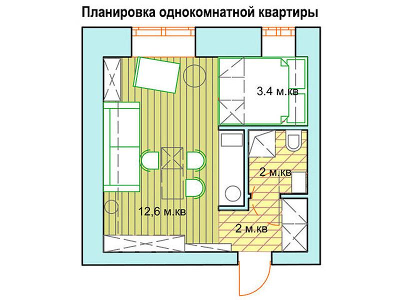 Стандартная квадратная однушка