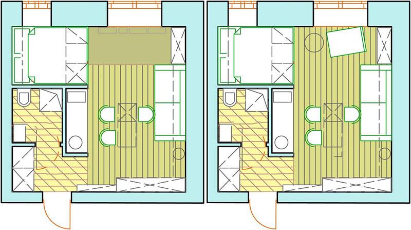 Варианты планировки квартиры 20 м2 – план-реновация в доме п44к