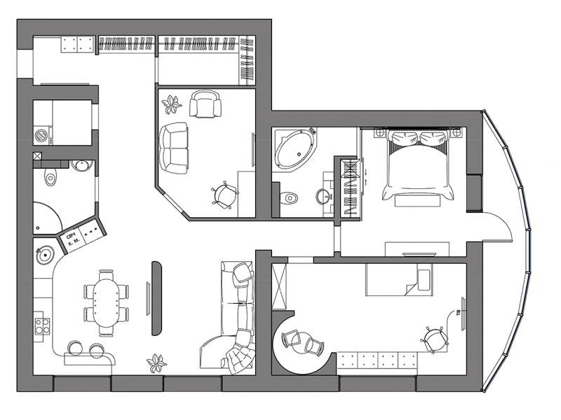 Современная однокомнатная квартира необычной планировки