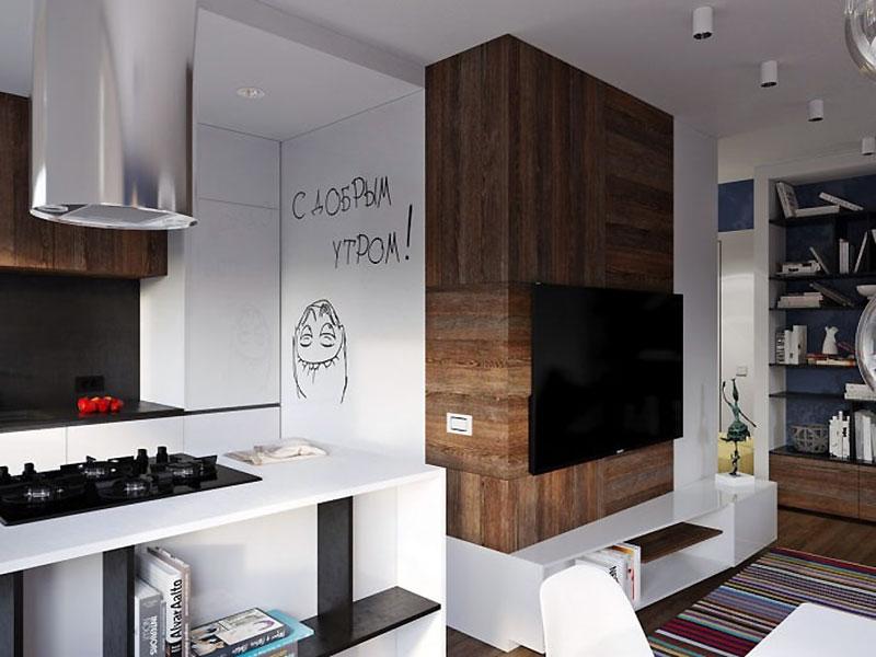 Переход кухни в гостиную в квартире 31 м2