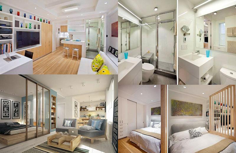 Расположение помещений в большой однокомнатной квартире