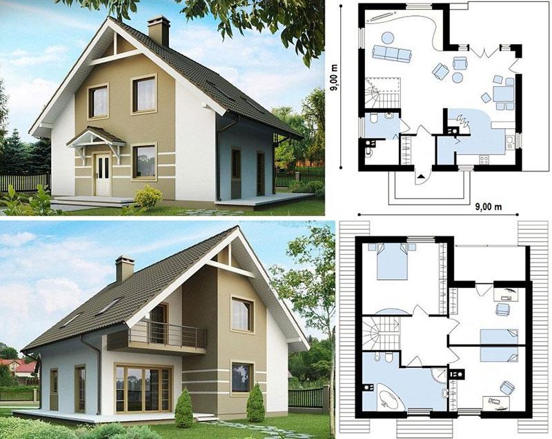 Проект дома на два этажа с мансардой