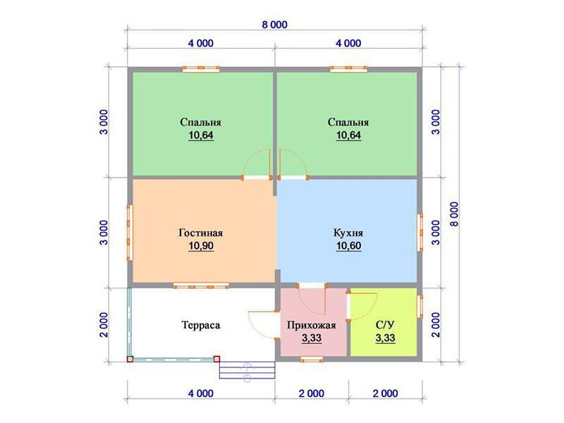 Проект-квадрат большого дома из бревен
