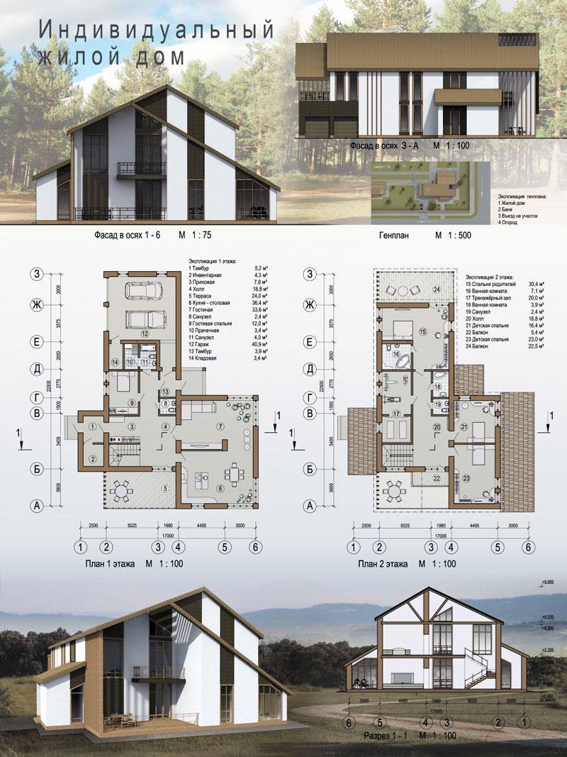 Проект индивидуального жилого дома с размерами