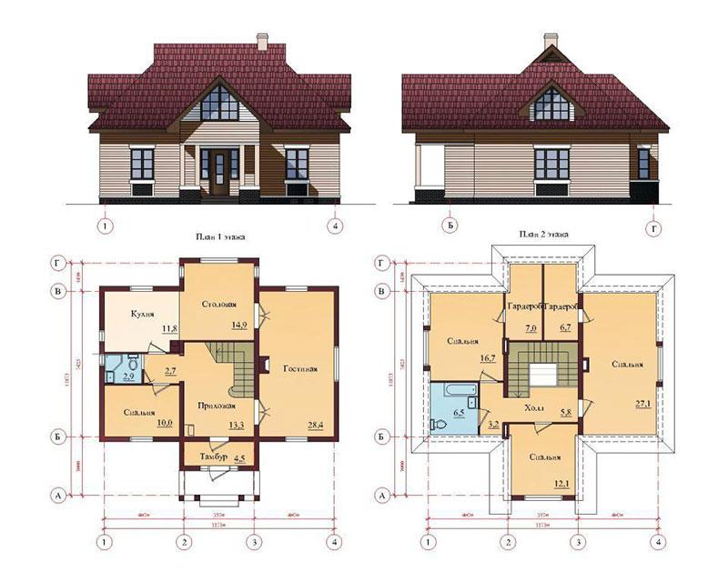 Проект дома с мансардой и четырехскатной крышей