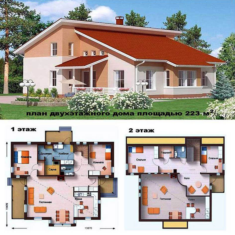 Оригинальная планировка двухэтажного строения 150 м2