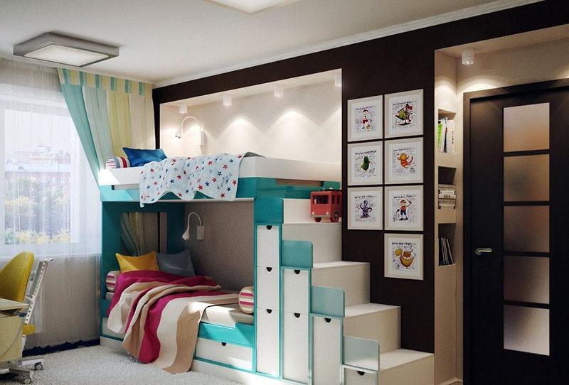 Форма и интерьер детской для двоих на 12 м2