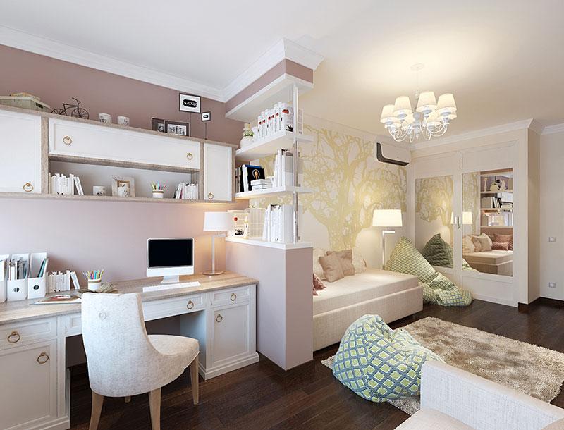 Комната для девочки и учебным местом и игровым пространством