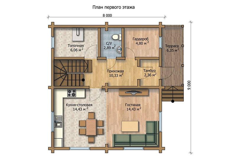 Первый этаж деревянного двухуровневого дома