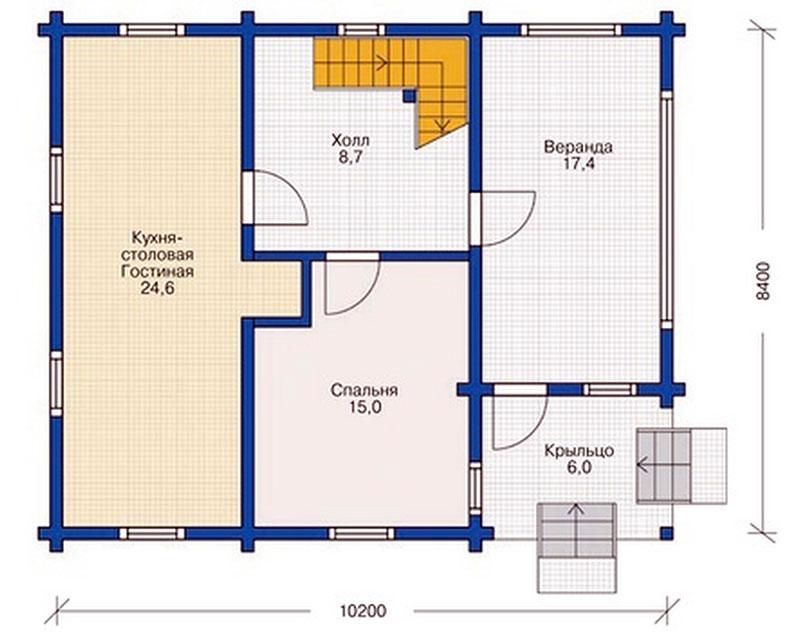 1-й этаж двухуровневого дома