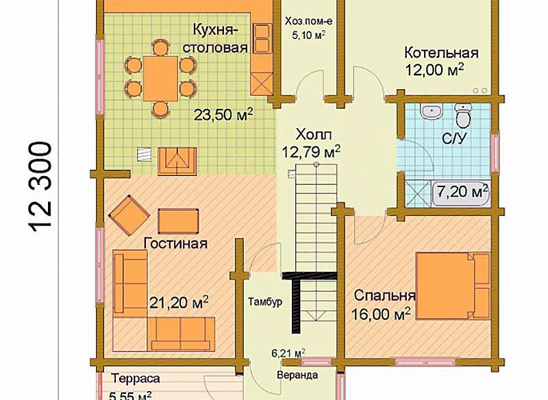 Чертеж нижнего уровня здания 10х12 м2